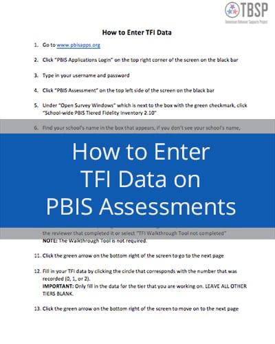 How to enter TFI data