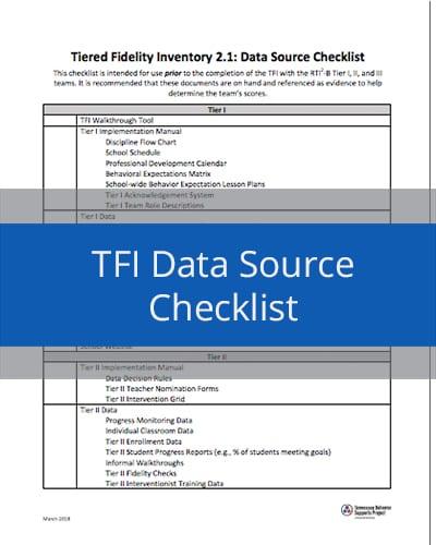 TFI Data Source Checklist