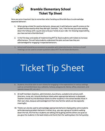 Ticket Tip Sheet