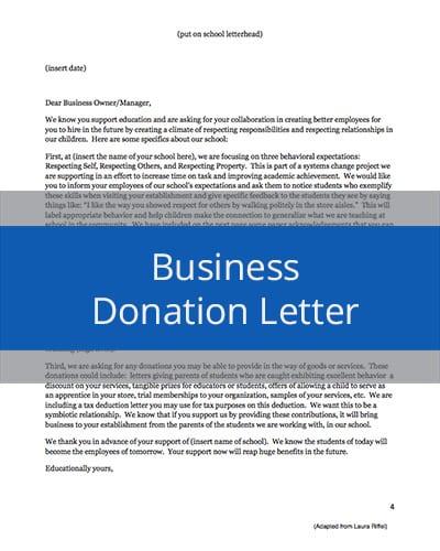 Business Donation Letter