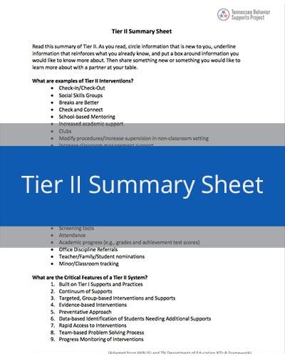 Tier II Summary Sheet