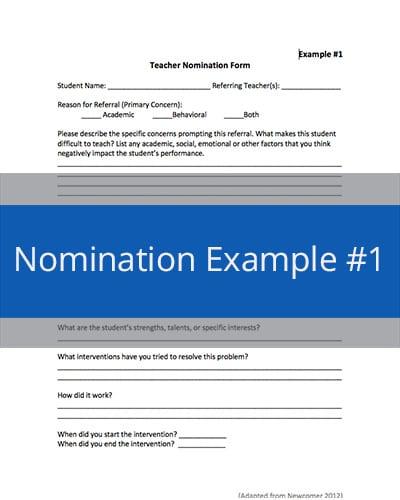 Nomination Example #1