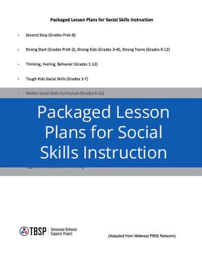Packaged Lesson Plans for Social Skills Instruction