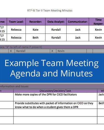 Example Team Meeting Agenda and Minutes